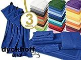 Frottiertücher der Serie Opal - erhältlich in 33 modernen Farben und 7 verschiedenen Größen -Markenqualität von Dyckhoff, 1 Pack (3 Stück) - Gästetücher [30 x 50 cm], kobalt