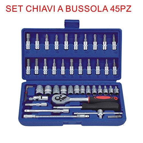 Euronovità en-28884 Set clés mixtes à cliquet 45 pièces, tournevis, clés à douille avec embouts, outils à main pour travail