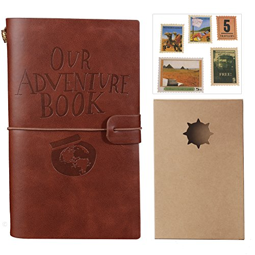 Our Adventure Book Journal Refillable Notebook Leather Notepad With Stamps Card Slots and Zipper Pocket Travel Gift for Women Men Teachers Students