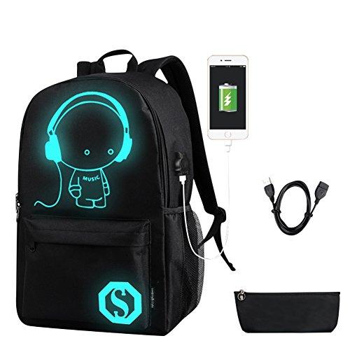 Tininna cool ragazzi ragazze tela zaino della scuola con porta di ricarica usb e lock zaino luminoso di moda laptop zaino daypack con sacchetto a matita