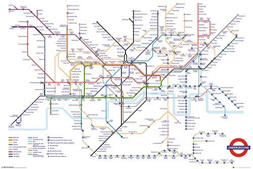 GB eye Ltd Transport for London, Underground Map, Maxi Poster 61x 91,5cm, Holz, Verschiedene, 65x 3,5x 3,5cm