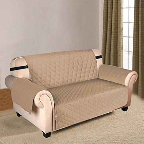 Newmeil Sofaschoner Sofabezug 3 Sitzer Wasserdicht Anti-Rutsch Schwarz/Grau/Koffee (Beige)