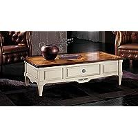 Tavolino rettangolare piano parquet in ciliegio massello con cassetto