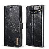 Samsung Galaxy Note 8 Funda Funda Piel genuina Billetera Funda para Samsung Galaxy Note 8 con Stand Función(Negro)