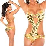 Swallowuk Damen Sexy Leopard Bademode Neckholder Bikini Dessous Bodysuit (L, Gold)