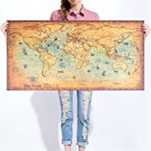 Mapa vintage del mundo, para colgar, 100 x 50 cm. , papel, world map, 39.4-Inches x 19.7-Inches