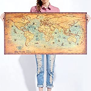 poster mural Grande carte du monde vintage en papier kraft, avec indications de navigations anciennes, idéal pour décoration de bar, chambre, salon, 100 x 50 cm