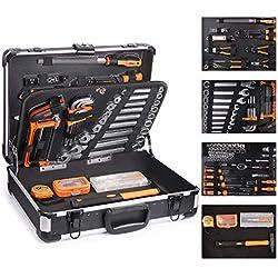 TACKLIFE Malette Outils en Aluminium 136Pièces, HHK4B, Ensemble D'outils Multifonctions à Main, Tournevis de Précision, Marteau, Pinces, etc