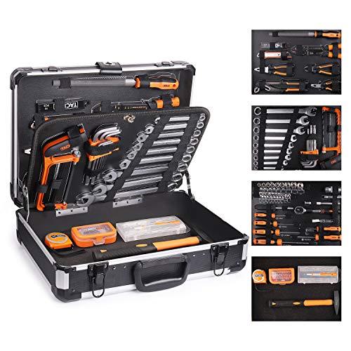 Tacklife - cassetta attrezzi,136pcs,valigia in alluminio,valigia degli attrezzi,martello,set di cacciaviti,pinze,set di maniche set di chiavi-hhk4b