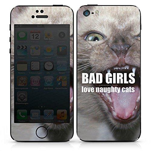 Apple iPhone SE Case Skin Sticker aus Vinyl-Folie Aufkleber Katze Cat Mädchen DesignSkins® glänzend