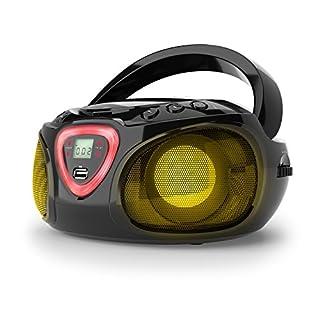 10029814 - auna Roadie - CD-Radio, Stereoanlage, Boombox, USB, MP3, UKW-Radiotuner, Bluetooth 2.1, LED-Beleuchtung, 2 x 1,5 W RMS-Leistung, Netz- und Batterie-Betrieb, schwarz