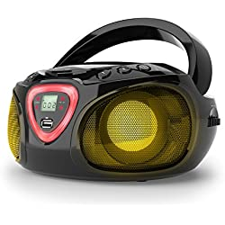 auna Roadie • CD-Radio • Equipo estéreo • Minicadena • Reproductor de CD • Puerto USB • MP3 • Sintonizador Am/FM • Bluetooth 2.1 + Der • Luz LED 2 x 1,5 W RMS • Cable y Pilas • Negro