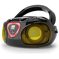 auna Roadie • CD-Radio • Equipo estéreo • Minicadena • Reproductor de CD • Puerto USB • MP3 • Sintonizador AM/FM • Bluetooth 2.1 + DER • Luz LED multicolor • 2 x 1,5 W RMS • Cable y pilas • Negro