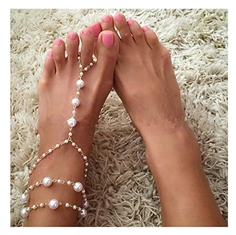 KnSam 1 Stück Damen Fußkettchen Metalllegierung Fußkette Perlen Böhmisch Boho Urlabu Strand Retro Fussfessel Gold [Neuheit Fußkette]