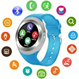 YGS Bluetooth smartwatch / Wrist Watch (Y1 Blue) with Sim Card Support for High Quality Calling | Facebook and WhatsApp | Touch Screen | Multilanguage | Activity Trackers | Fitness Band Features | Video Recording | Phone Book | Smartwatch Phone with Camera TF SIM Card Slot | Compatible with 2G 3G 4G Android Mobile Phones & IOS phones.