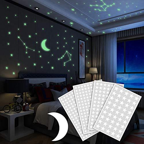 Yosemy Luminoso Pegatinas de Pared Luna y Estrellas Fluorescente Decoración de Pared para Dormitorio...