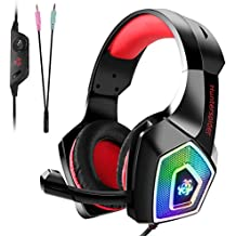 Tenswall Gaming Headset für PS4 Xbox One PC Nintendo Switch/3DS, Gaming Kopfhörer mit Mikrofon, Buntes LED-Licht für Computer Laptop Mac Tablet Smartphone