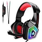 Tenswall PS4 Gaming Headset, Cuffie Gaming per PC con mic a LED, Jack Stereo da 3,5mm con Cancellazione del Rumore e Controllo del Volume per Xbox One, Nintendo Switch, PC, Laptop, Tablet-Rosso