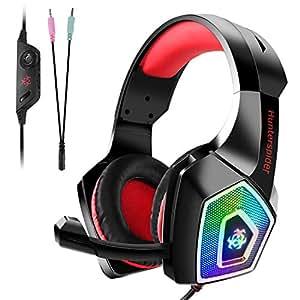 Tenswall PS4 gaming headset,Cuffie gaming per PC con mic a LED, jack stereo da 3,5 mm con cancellazione del rumore e controllo del volume per Xbox One, Nintendo Switch, PC, laptop, tablet-Rosso
