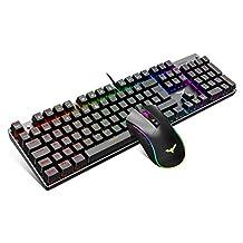 havit Mechanisch gaming-toetsenbord en -muisset, 4800 Dots Per Inch RGB-gamingmuis met 7 knoppen (UK Layout)
