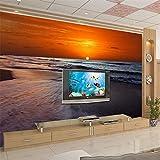 MIZI Fino Decoración Playa Atardecer Atardecer Amanecer Puesta de Sol Cielo Fondo Muro Fondo del Dormitorio del Hotel 3D Lateral Fondo de Pantalla,250 * 175 cm