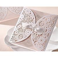 Laser taglio raso inviti di nozze classica Hollow design (20pezzi)