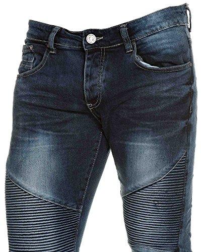 BLZ jeans - Jeans bleu homme délavé nervuré street look Bleu