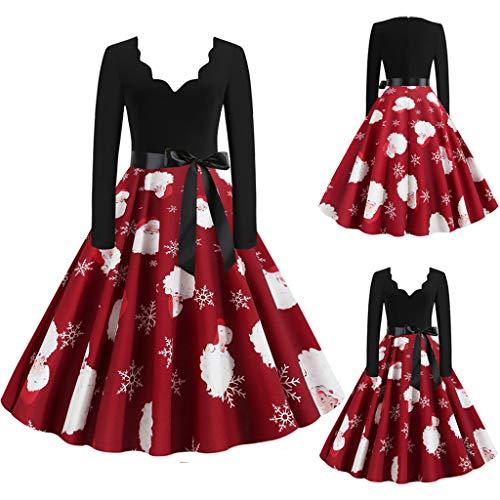 SomeTeam Frauen Vintage Langarm Weihnachten 1950er Jahre Hausfrau Abend Party Prom Kleid Damen Weihnachten Print V-Ausschnitt Langarm Kleid