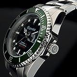 Gigandet Automatik Herren-Armbanduhr Sea Ground Taucheruhr Uhr Datum Analog Edelstahlarmband Schwarz Grün G2-005 - 6