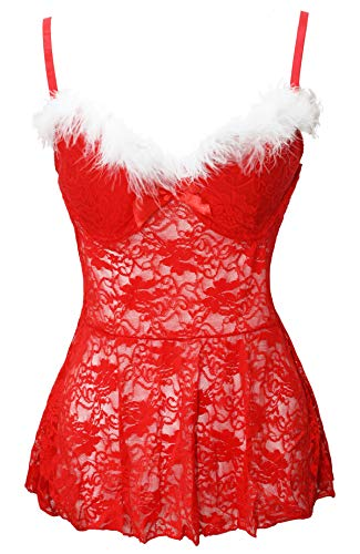 Doll Kostüm Baby Zombie - Bslingerie Weihnachtsrotes Underwired Baby Dolls Negligees (Rot, L)