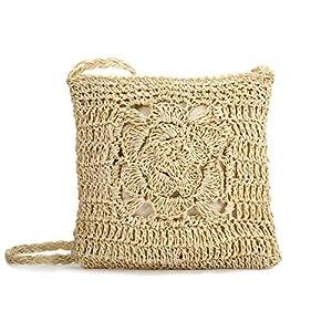Stroh Crossbody Tasche, JOSEKO Sommer Strand Vintage Handarbeit Umhängetasche Handarbeit Woven Handtasche Stroh Gestrickt Messenger Tasche