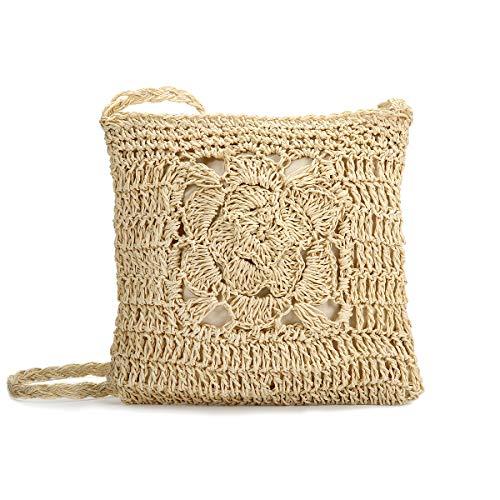 Beige Handtaschen Stroh (JOSEKO Stroh Crossbody Tasche, Sommer Strand Vintage Handarbeit Umhängetasche Handarbeit Woven Handtasche Stroh Gestrickt Messenger Tasche Beige)