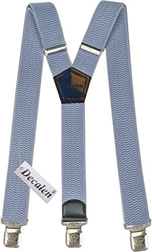 Hosenträger für Herren breit extra starken 4 cm mit 3er Clips Y-Form lange für Männer und Damen Hose (Lichtblau)