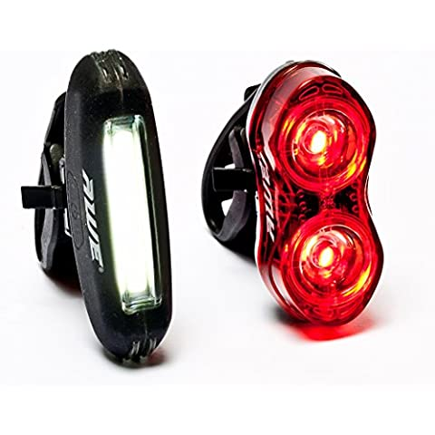 AWE® BlazeFlash™ ricaricabile Bicicletta in Silicone COB 25 Micro LED anteriore & 2 x 0, 5W LED posteriore USB 2.0 luce Set 80 lumen