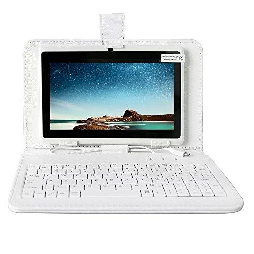 Neue AIYIBEN 8GB Q88 7 Zoll Android Quad-Core Tablet PC, 1024 * 600, Allwinner A33, Google Android 4.4, mit Dual-Kamera Google Play Vorgeladen, Externes 3G, 3D-Spiel wifi Tablet Plus-Tastatur Holster(White)