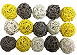 15PCS Mixed Grey Yellow White Wicker Rattan Ball Wedding Christening Baby Shower Nursery Mobiles Decoration
