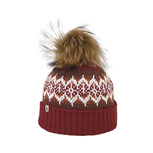 Brekka berretto con pompon, Yorkshire Racoon Pon, Donna, Bommelmütze Yorkshire Racoon Pon, Burgundi, Taglia unica