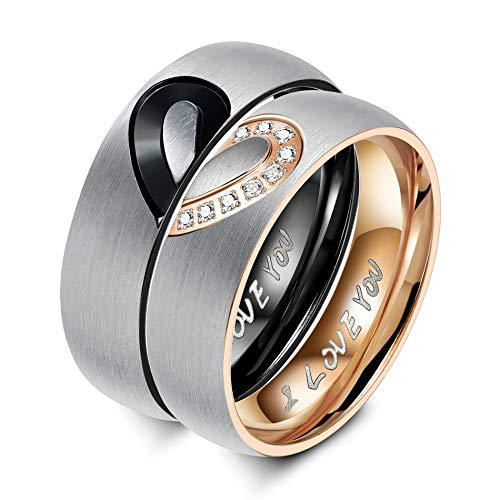 Yacoda amore cuore anello in acciaio inossidabile per uomo dona voto d'amore coppie lui e lei fornito con due catene(corda intrecciata nera/catena in acciaio inossidabile)