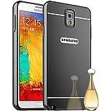 HICASER Duro Híbrido Carcasa para Samsung Galaxy Note 3 N9000 Bumper Case del Metal Aluminio + PC Ultrafina Espejo Efecto Trasero Funda Cover Gris