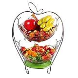 Frutero de Hamaca Cesta Estante de Frutas Colgantes, Metal 2 Pisos Ideal para Presentar y Servir Fruta,Silver