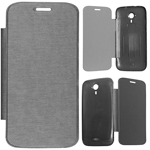 DMG Durable Protective PU Leather Flip Book Cover Case for Micromax A116 Canvas HD - Grey  available at amazon for Rs.199