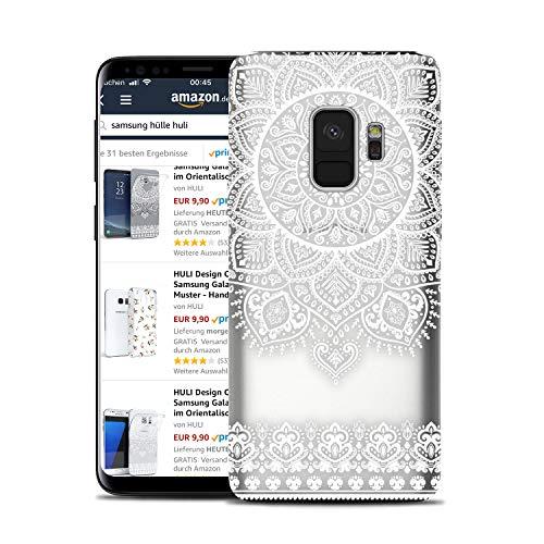 HULI Design Case Hülle für Samsung Galaxy S9 Plus Smartphone im Orientalischen Muster weiß - Schutzhülle aus Silikon mit orientalischem Mandala Henna Ornament Traumfänger - Handyhülle mit Druck