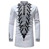 SHINEHUA Herren Langarmshirt, Herren Herbst Winter Luxus Afrikanisch Drucken Lange Ärmel Dashiki Shirt Top Bluse T-Shirt Pullover Sweatshirt Slim Fit Business Freizeit Bluse (Weiß,XL)