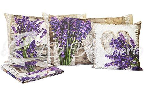 oppelbett Duft von Lavendel Digitaldruck + Kissenbezug cm 40x 40–Hochwertige Baumwolle Made in Italy (Bett-set Lavendel)