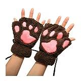 NdB 1498 - [MARC+ROS] Guanti senza dita a forma di Zampa d'Orso - Morbidi e Caldi - Ideali per Inverno e Autunno - Mani Libere - per Adulto e Bambino - Marrone chiaro Rosa