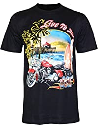 PALLAS Unisex's Motorcycle Club Vintage Live to Ride T-Shirt