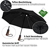 Regenschirm Taschenschirm | VAN BEEKEN – windtest bei 140 km/h, wasserabweisende Teflon-Beschichtung, leicht, klein & kompakt – stabiler Schirm mit voll-automatischer Auf-Zu-Automatik, schwarz 95cm - 4