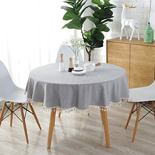 Meiosuns tovaglia rotonda tovaglia tinta unita tovaglia di cotone tovaglia di cotone multiuso indoor e outdoor (diametro 120 cm, marina militare)