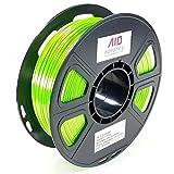 AIO Robotics AIOGREENSILK PLA 3D Drucker Filament, 0.5 kg Spule, Genauigkeit +/- 0.02 mm, Durchmesser 1.75 mm, Grüne Seide