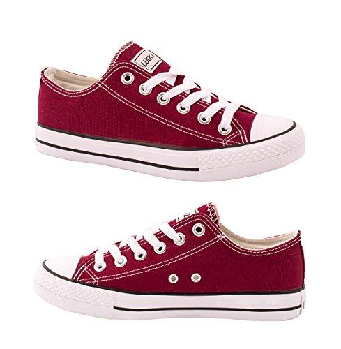 Elara Unisex Sneaker | Bequeme Sportschuhe für Herren und Damen | Low top Turnschuh Textil Schuhe 36-46 Bordorot